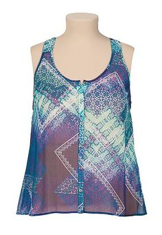 Lattice racerback scarf print chiffon plus size tank (original price, $32) available at #Maurices