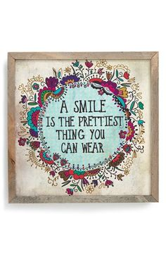"""Free shipping and returns on NATURAL LIFE 'Pretty Smile - Street Market' Stretched Canvas Wall Art at Nordstrom.com. """"A smile is the prettiest thing you can wear"""": Inspired by art found at outdoor street markets, and splashed in a smile-inducing sentiment, this stretched canvas framed in weathered wood has a handmade, folk-art feel to add charm and character to any room."""