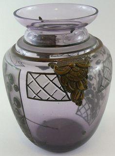 Art Nouveau vase about 1900, Manufacture D´Argyl original, ArtDeco from France, lilac glass vase, Emaillmalerei with brass curtain  Dealer ...