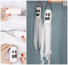 Ghost sure are scary. Let's try to scare them away by making a Ghost Windsock Toilet Paper Roll Cr Ghost Crafts, Fox Crafts, Animal Crafts, Baby Crafts, Toddler Crafts, Family Crafts, Fun Crafts For Kids, Arts And Crafts, Manualidades Halloween