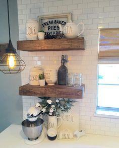 Farmhouse kitchen , Rae Dunn , open wood shelves - Ashley (@ashbplus3) on Instagram.