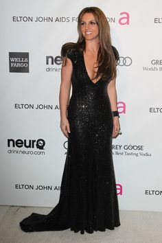 Britney Spears Debuts Brunette Hair, Shows Off Cleavage at The Elton John AIDS Foundation Viewing Party  at the #PacificDesignCenter in West Hollywood, Feb 24, 2013  http://celebhotspots.com/hotspot/?hotspotid=5233&next=1