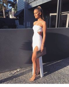 A Line Strapless White Prom Dress with Waist Cutout Cocktail Bridesmaid Dresses, Homecoming Dresses, Graduation Dresses, Beautiful Prom Dresses, Pretty Dresses, White Ball Dresses, White Dress Summer, Summer Dresses, Long Dresses