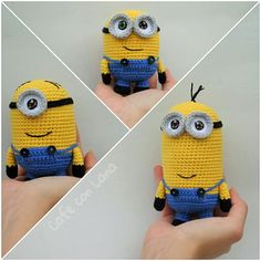 Bob and Minions - Patrón Gratis en Español aquí… Crochet Bob, Minion Crochet, Love Crochet, Crochet Crafts, Yarn Crafts, Crochet Projects, Crochet Patterns Amigurumi, Crochet Dolls, Minion Pattern