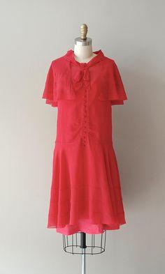 Cherry Girl dress / silk chiffon 20s dress / red by DearGolden, $288.00