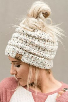 Shop knitted beanies, messy bun beanies, trucker hats