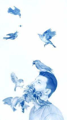 Mixed media artist Zachari Logan regularly explores ceramic, illustration and installation processes. Art And Illustration, Blue Drawings, Inspiration Artistique, Rocky Horror, Crayon, Oeuvre D'art, Art Inspo, Painting & Drawing, Amazing Art