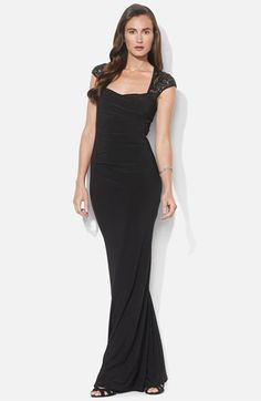 Lauren Ralph Lauren Sequin Lace Sleeve Jersey Gown | Nordstrom You can never go wrong with a sinewy, black number!