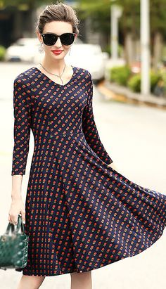 Elegant V-Neck Dot Print Skater Dress