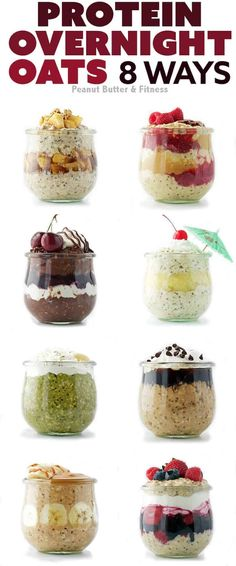 Protein Overnight Oats 8 Ways - these recipes make for a perfect healthy meal prep breakfast!
