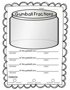 This is a cute way to incorporate fractions with a fun activity!  You can either print the gumball template on colored paper, or have students color them.  The template is set up so that each student gets 10 gumballs, but you can differentiate how you need on that number.