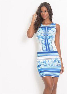e553586a8c2e Šaty s pásikmi a kvetovanou potlačou • biela modrá potlačená • bonprix  obchod