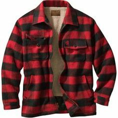 A truly traditional deer camp jacket for generations of Americans. Beefy wool blend wards off the fiercest winter weather. Fully lined body with thick, soft sherpa. Quilted satin insulated sleeves for easy wearing. Adjustable two-button cuffs, hand-warmer pockets. Antique brass zipper. Machine washable. Imported.