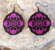 Hot Pink Round Southwest Peyote Beaded Earrings by DoubleACreations on Etsy