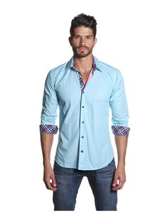 Jared Lang Men's Long Sleeve Shirt with Contrast Collar and Cuff at MYHABIT