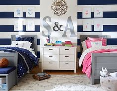 I love the Pottery Barn Kids Hearts and Stars Shared Spaces on http://potterybarnkids.com Boy girl twins boy/girl
