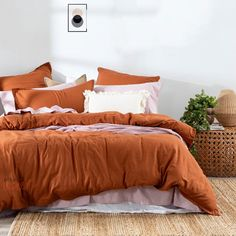 Orange Duvet Covers, 100 Cotton Duvet Covers, Orange Bedding, King Size Duvet Covers, Bedroom Orange, Green Bedding, Boho Bedding, Cotton Bedding, Cotton Fabric
