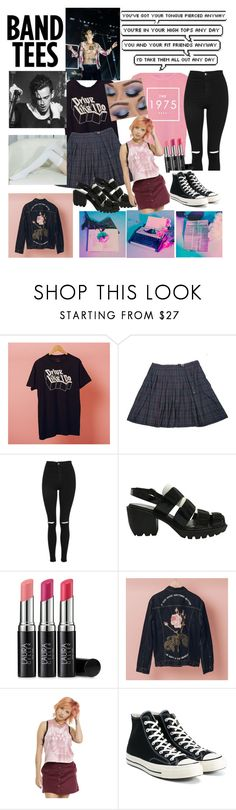 """// oh you bite your friend like chocolate //"" by harrystylesheadband ❤ liked on Polyvore featuring Topshop, Opening Ceremony, Laura Geller, Hot Topic and Converse"