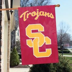 USC Trojans Sc Logo House/Porch Embroidered Banner Flag 44X28