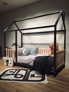 FULL Size toddler bed 53''x75'' with bed rails Teo Beds FREE' SHIPPING House Frame Bed, House Beds, Full Size Toddler Bed, Kids Bed Frames, Painted Beds, Teepee Bed, Hardwood Furniture, Bed Rails, Buy Bed