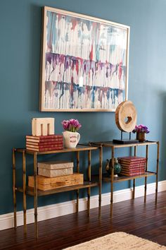 Deep teal wall. Love the shelf styling.    Emily Henderson — Stylist - BLOG - 'New York Cool Meets CaliforniaComfort'