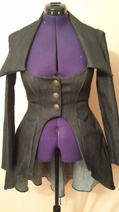 Womens Denim Steampunk  Jacket by thecustombutton on Etsy, $59.00