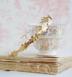 Gold Oak Leaf Headband Autumn Wedding Romantic Bridal Woodland Garden Flower Girl Bridesmaid