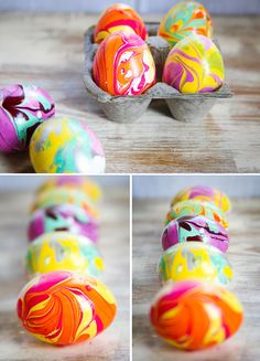 how to marble easter eggs with nail polish- Just messy as marbling your nails but still cool