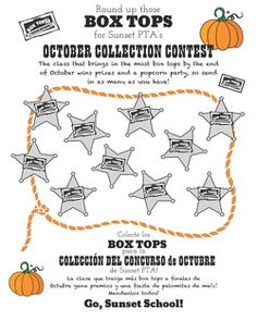 Did you know that collecting BoxTop brought in over $800 for Sunset School last year? Those little bits of paper add up to big bucks for our school. This October we are having a class contest to see...