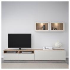IKEA - BESTÅ TV storage combination/glass doors walnut effect light - Interior Ideas - Ikea Living Room, Living Room Cabinets, Living Room Storage, Living Room Furniture, Home Furniture, Cheap Furniture, Furniture Websites, Inexpensive Furniture, Furniture Removal