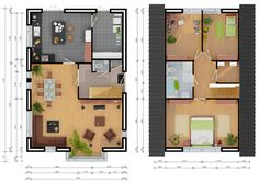 Floor Plans, House Ideas, Houses, 3d, Arquitetura, Plants, Homes, Home, Floor Plan Drawing