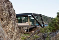Cabin Lille Arøya by Lund Hagem Architects, between Norwegian rocks and sea Lund, Bouldering, Architects, Rocks, Cottage, Cabin, Sea, Cottages, Cabins