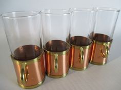 Beucler Cobras Copper & Brass Irish Coffee Mugs | Russian Tea Glasses | Cork Lined Holders | 70s Vintage Bar | Hot Toddies | USA | Set of 4 by BeehiveBoutiques on Etsy