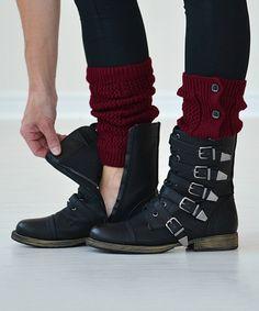 Love this PeekABootSocks Red Velvet Button-Down Boot Cuffs by PeekABootSocks on #zulily! #zulilyfinds