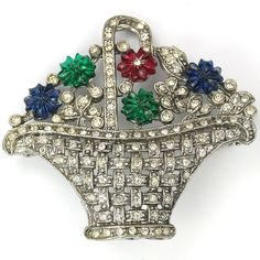 After Mazer Pave and Tricolour Fruit Salads Flower Basket Pin