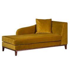 Norteens Chaise longue Blomma - mosterdgeel fluweel - armleuning vooraanzicht rechts Banquette, Delft, Love Seat, Indoor, Living Room, Furniture, Home Decor, Images, Environment