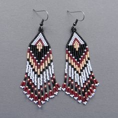 Long Native American Inspired Seed Bead Earrings  by Anabel27shop,