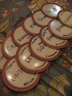 Plant Labels out of Used Canning Lids