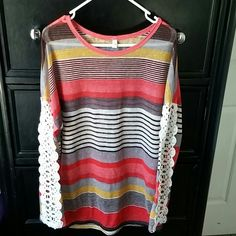 Hyx Brand top Hyx Brand sheer top with crochet sleeves and bold colored stripes hyx Tops
