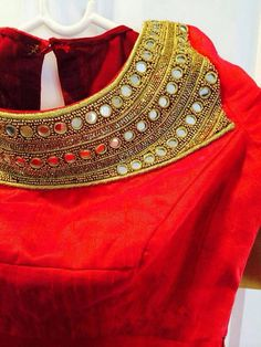 Red ,front embroidered blouse