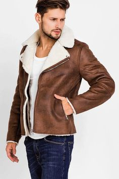 jacket for men brown winter leather jacket pocket men 2018 autumn turn down  collar warm jacket outwears 05333c250