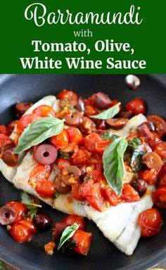 This Barramundi with Tomato, Olive, White Wine Sauce Recipe is so healthy and incredibly flavorful! It's easy enough to throw together for a quick weeknight dinner, but also impressive enough to serve to guests! ll www.littlechefbigappetite.com ll Healthy Fish Recipes, Barramundi Recipe, White Fish Recipe, Easy Fish Recipe, Quick Fish Recipe, Fish with Basil, Fish with Tomatoes, Easy Dinner Recipe, Dairy Free Dinner, Gluten Free Dinner, Pescatarian, Basil Recipe, Fish with Olives