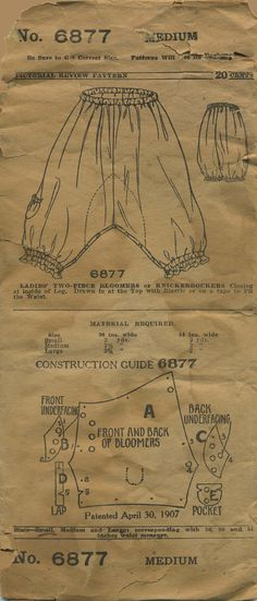 Antique / Vintage Sewing Pattern | Ladies' Bloomers or Knickerbockers | Pictorial Review 6877 | Year 19?? (post April 30, 1907) | Size Medium | Waist 30 | Hip n/a