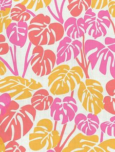 Want summer all year round? This monstera deliciosa leaf pattern brings the jungle into your home! Deliciosa Designer Fabric by Aimée Wilder. Materials: Cotton Sailcloth, Fine B Motifs Textiles, Textile Patterns, Textile Design, Fabric Design, Print Patterns, Pattern Designs, Surface Pattern, Surface Design, Jungle Pattern