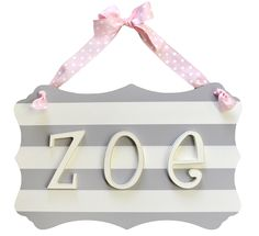 Our nursery Letters personalize your baby's room! Creating a personalized space for your baby has just gotten easier with our wooden letters and name plaques! Our wooden letters for nursery come in a variety of styles. Nursery Letters, Nursery Name, 22nd Birthday, Name Plaques, Little Girl Rooms, Baby Boutique, How To Make Bed, Grey Stripes, Pink Grey