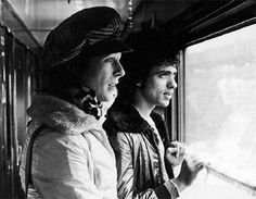 David Bowie traveling by Trans-Siberian Express from Japan to Moscow through Russia with his band members in 1973.