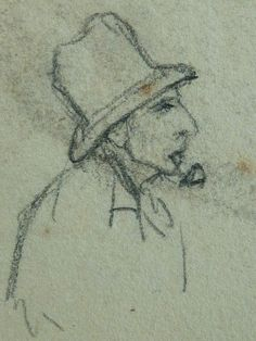 "COURBET Gustave - Homme couché, Paysage, Figure, Etudes (drawing, dessin, disegno-Louvre RF29234.21) - Detail 56  -  TAGS / details détail détails detalles croquis Study studies sketch sketches Museum Paris France figures personnes people pose model man men hommes portrait portraits face faces visage ""young man"" ""young men"" allongé elongated rest repos pipe smoke smoking fumeur fumer trees arbres paysage landscape nature casquette hat chapeau cap"