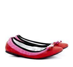 Kira Red + Magenta round toe flats