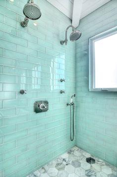 shower in a newport beach home Aqua Bathroom, Coastal Bathrooms, Beach Bathrooms, Bathroom Interior, Master Bathroom, Chic Bathrooms, Bathroom Vanities, Blue Subway Tile, Bath Remodel