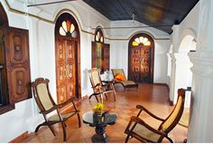 Beatiful colonial easy chairs at Malabar House, Fort Cochin once headquarters of Dutch East India Company